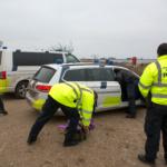 Midt- og Vestsjællands politi arbejder med eftersøgningssagen i Skansehagebugten i Rørvig. Foto: John Olsen/photodan.dk